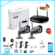 Free shipping 2CH CCTV System 720P NVR 2PCS 1MP IR Outdoor P2P Wireless Wifi IP CCTV Camera Security System Surveillance Kit