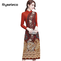 Ryseleco Women Slim Elegant Chinese Style Floral Prints Patchwork Long Sleeve Mid Calf Dresses Ladies Fall