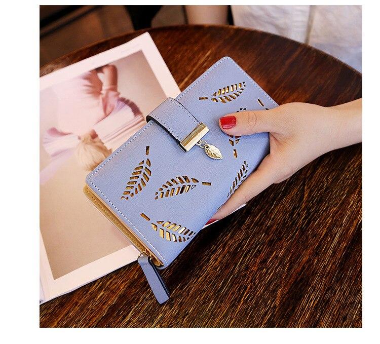Женский кошелек из искусственной кожи, Женский Длинный кошелек с золотыми полыми листьями, Сумочка для женщин, кошелек для монет, держатель для карт, клатч