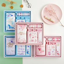 Buy 1 Pakage Small Fresh Stationery Set Sticker Tape TN Hand Book Metal Clips Lovely Girl Heart Account Gift Set Creative Book directly from merchant!