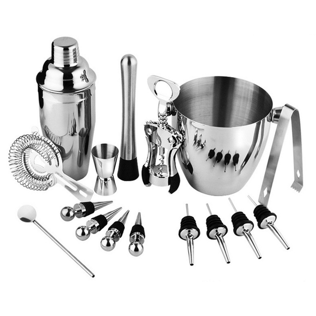 Beautiful Practical 16 Piece Stainless Steel Wine And Cocktail Bar Set   Bar Kit  Includes Essential