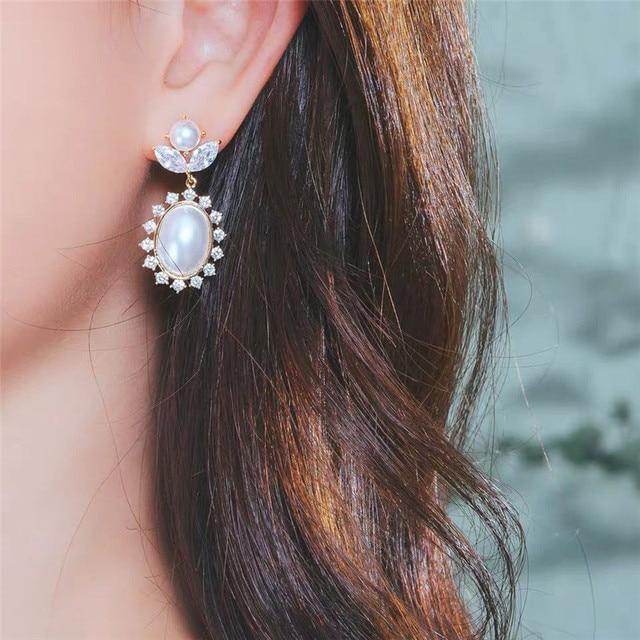 MENGJIQIAO 2019 New Fashion Ear Accessories Big Oval Simulated Pearl Drop Dangle Earrings Flower Crystal Flower Party Oorbellen