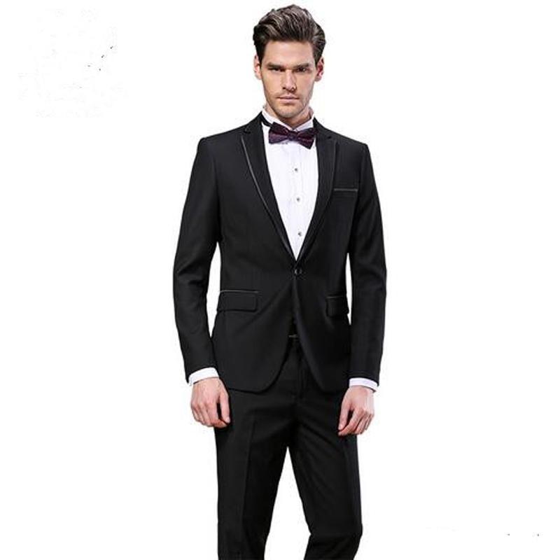 Black Slim Fit Men Suits Wedding Groom Wear Tuxedos Business Formal Wear 2 Pieces (Jacket+Pants) Bridegroom Sets Blazer Terno