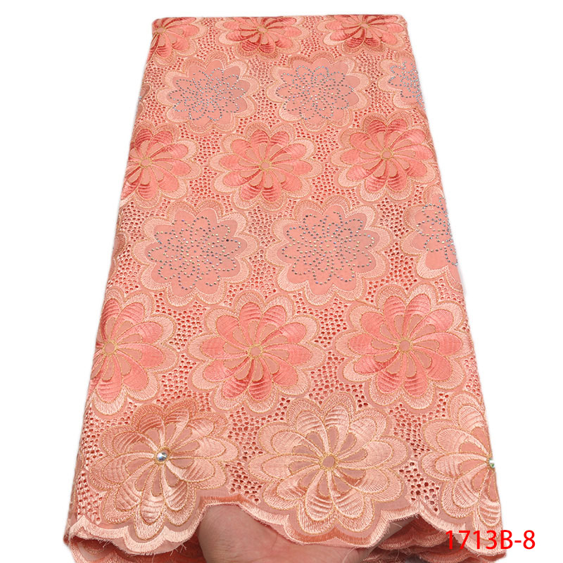 2018 GD1713B 8 Swiss Voile Lace in Switzerland African French Lace Wedding Dress Peach High Quality