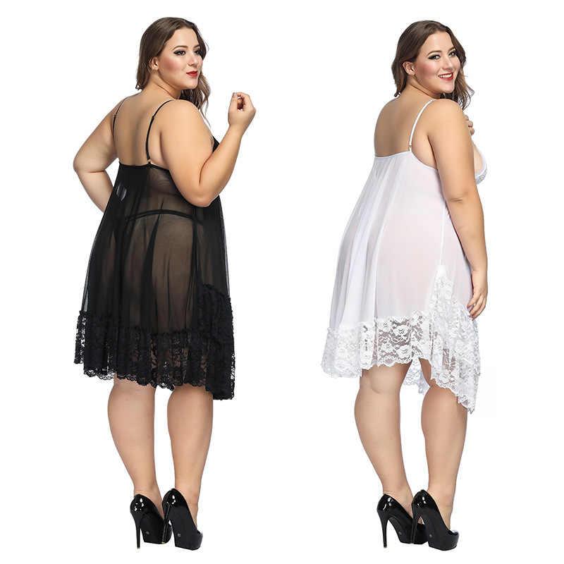 בתוספת גודל 6xl הלבשה תחתונה הלבשת לבן לילה שמלת הלבשה תחתונה גבירותיי סקסי תחרה בייבי דולס הלבשת נשים ארוטית קלע Homewear