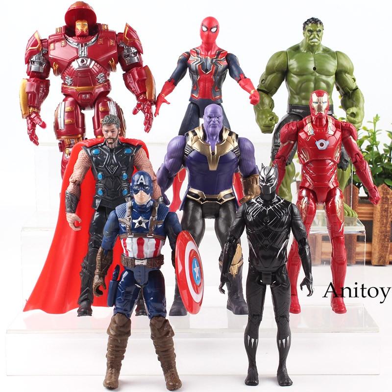 Avengers 3 Marvel Infinity War Hulk Black Panther Thor Captain America Spiderman Thanos Iron Man Hulk Buster Figure PVC Toys figuras de accion avengers endgame