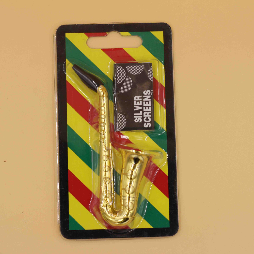 Novel Portable Small Saxophone Smoking Pipes Metal Tobacco Weed Pipe Hookah  Collectable Tobacco Pipes & Accessories Collectables