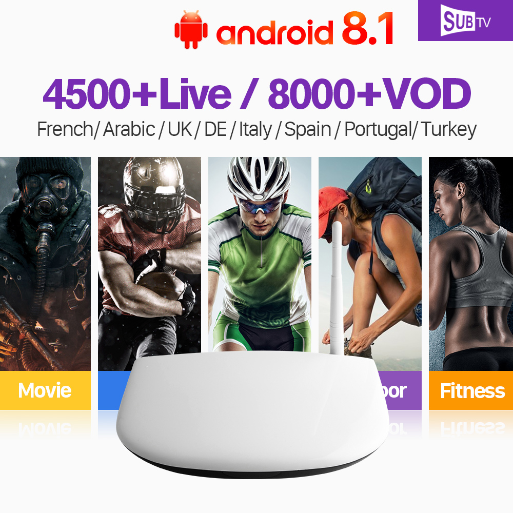 IPTV 1 Year France SUBTV Code Abonnement 4500 Live Android 8.1 Smart TV Box RK3229 IPTV Europe Portugal French Arabic IPTV Box недорго, оригинальная цена