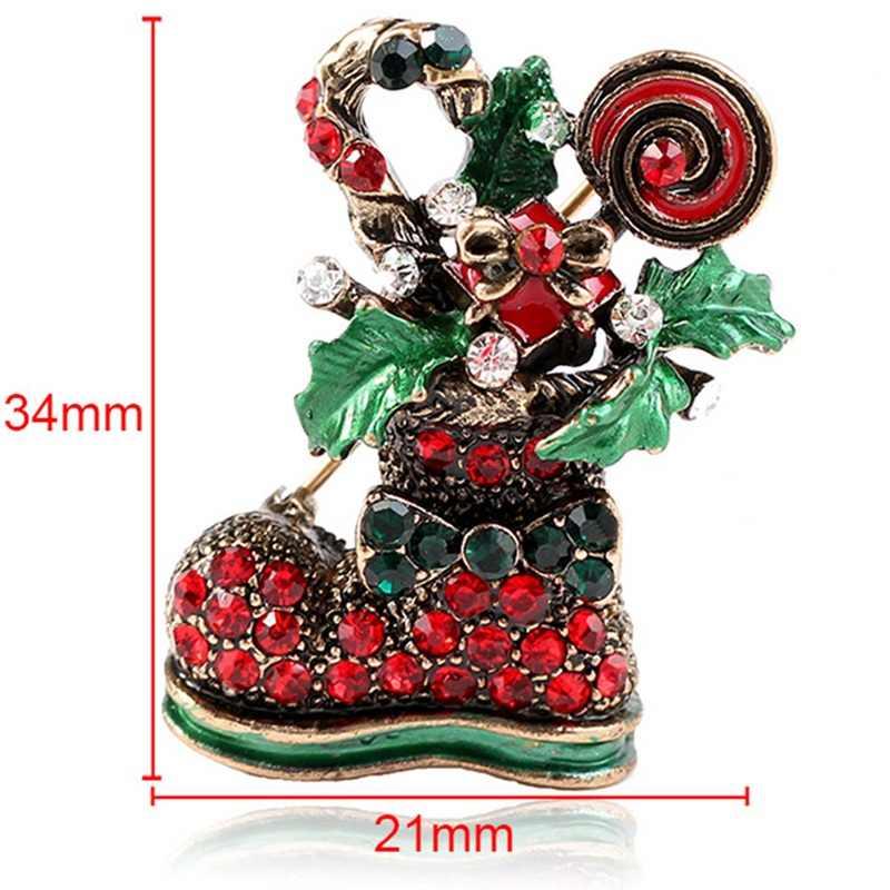 Yılbaşı Hediyeleri Güzel Kırmızı Ayakkabı Çizme Kadınlar Için Broşlar Iğneler Tam Rhinestones Noel Broş Yeni Yıl Için