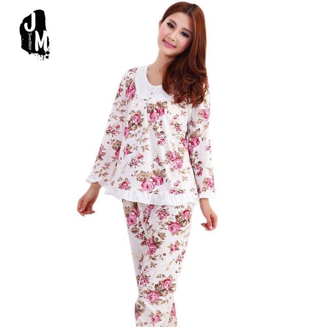 Hot Sale Long Sleeved Ladies Pajamas Set Cotton Pyjamas Women Pijama Floral  Print Sleepwear Homewear Nightgown Asia tag M-3xl 9d8b43d63