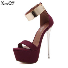 New Design Women High Heels  Shoes Sexy Black Waterproof 16cm  High Summer Sandals Female Nightclub Party Shoes SIZE 34-40