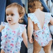 Menina da criança Do Bebê Kid Borboleta Ruffle Swimwear Swimsuit Dos  Desenhos Animados Arco Amarrar Um Pedaço Monokini Biquíni R.. 85c2fe51a75
