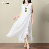 Plus Size White Linen Dress For Women High Quality Silk Linen Duble Layer Sleeveless Maxi Long