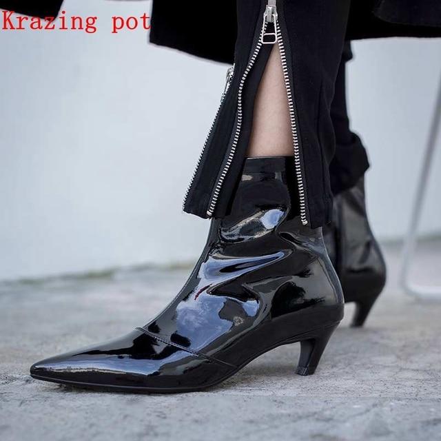 Krazing nồi mới da chính hãng Hàn Quốc phong cách mắt cá chân khởi động lạ gót thương hiệu giày phụ nữ quan hệ nhân quả cổ tích phụ nữ xe máy khởi động L97
