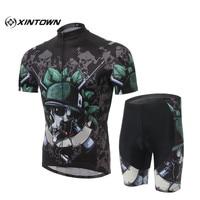 Skeleton Soldier Brand XINTOMN Bicycle Jerseys Short Sleeve Cycling Bib Clothing Mountain Bike Cycling Jersey Gel
