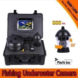 360 stopni panoramowanie podwodny aparat wędkarski zestaw z 100 metrów głębokości i 7 Cal Monitor TFT LCD z Menu OSD i twardych tworzyw sztucznych przypadku w Kamery nadzoru od Bezpieczeństwo i ochrona na