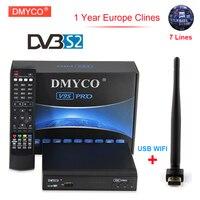 1 Año Europa clinales Servidor DMYCO V9S Pro Receptor de Satélite FTA DVB-S2 1080 p Full HD 3G IPTV Receptor de Satélite HD + 1 unid USB WIFI