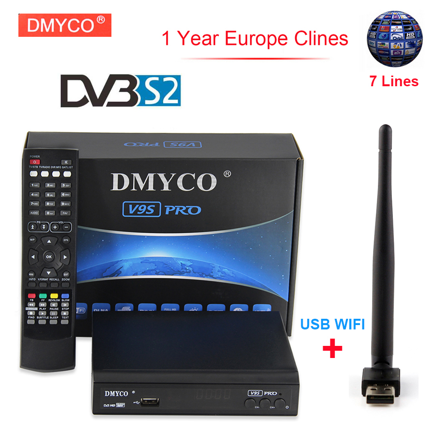 1 Year Europe clines Server Receptor DMYCO V9S Pro Satellite FTA DVB-S2 1080p Full HD 3G IPTV Satellite Receiver HD+1pc USB WIFI de it es channels dvb s s2 satellite fta lines 1 year cccam clines newcamd usb wifi satellite tv receiver for free shipping