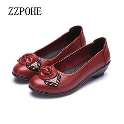 ZZPOHE printemps nouvelle mode semelles souples chaussures pour femmes confortable plat d'âge moyen mère chaussures dames grande taille en cuir chaussures 41