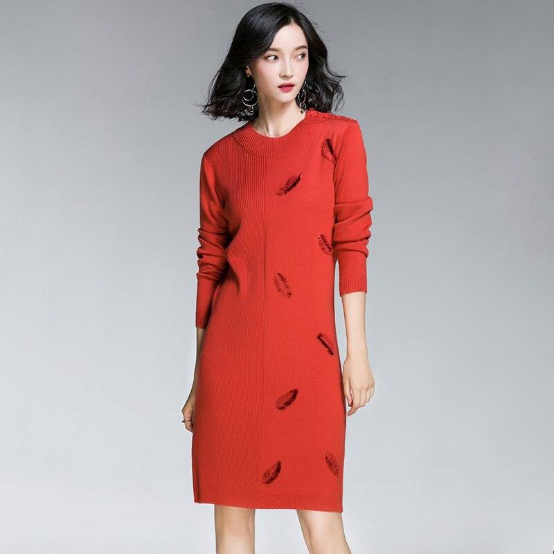 bleu vert 2018 Hiver Mode Manches Pull O Robe À Tricoté Femmes De Lâche Robes Automne Longues cou orange Noir wqw4Aa