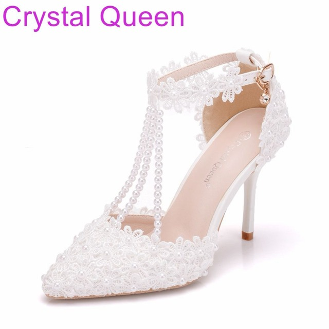 Crystal Queen Women Shoes Thin Heels Pointed Toe Shoes White lace Wedding  Bridals Shoes Plus Size 25d78743da87