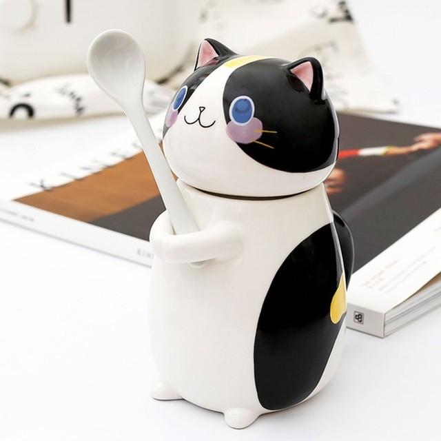 Cute Cat Mug With Lid Handmade Printed Coffee Cups And Mugs With Cat Lid Spoon Ceramic Creative Cartoon Cat Coffee Mug Cup 2
