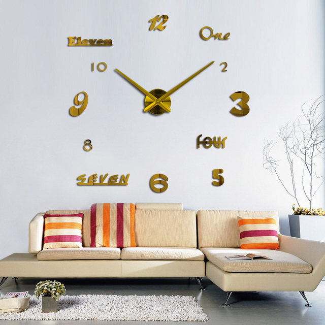 2017 New Quartz Watch Wall Clock Acrylic Mirror Diy Clocks Reloj De Pared Horloge Murale Living Room Modern Acrylic 3d Stickers