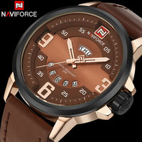 Men Sport Watch NAVIFORCE Brand Men Quartz Watch 30M Waterproof Leather Strap Rose Gold Auto Date