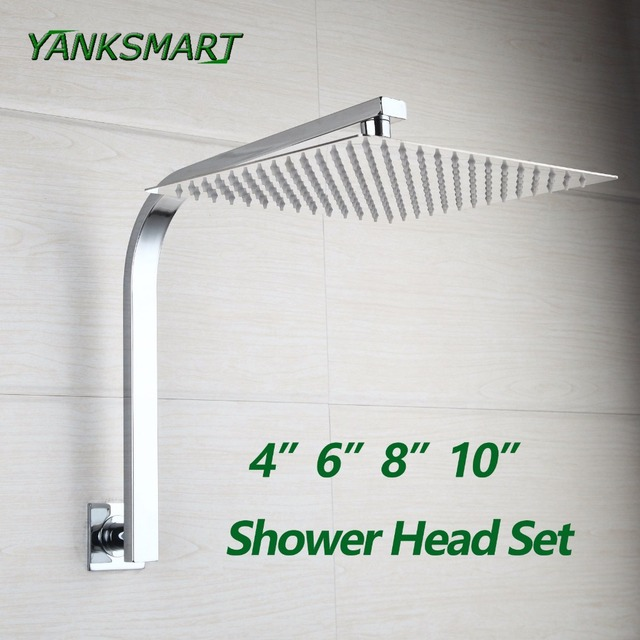 Merveilleux YANKSMART Gooseneck Square Brass Wall Mount Shower Arm Ultrathin Bathroom  Shower Head Set
