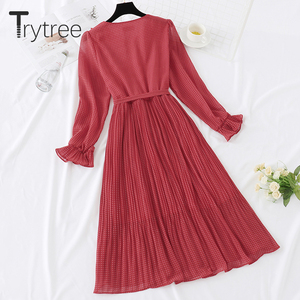 Image 3 - Trytree 봄 드레스 빈티지 도트 주름 여성 버터 플라이 슬리브 셔츠 드레스 벨트 Mid calf 제국 a 라인 Pleated Hem Dress