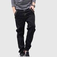 2016 мода повседневная шаровары мужские джинсы весна осень длинный низкий промежности карандаш эластичные джинсы мужчины тонкие шаровары плюс размер черный