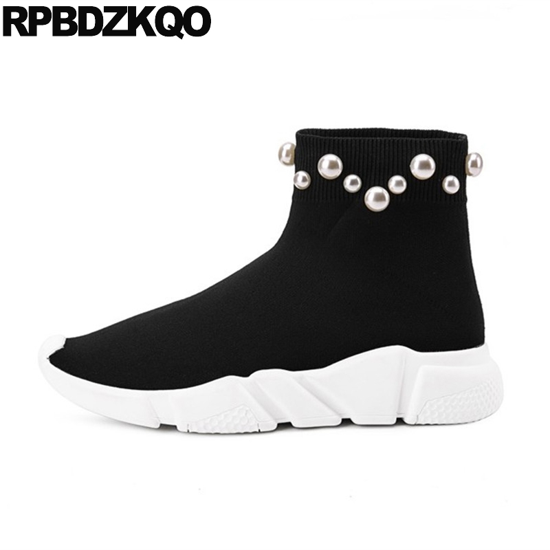 цены на Pearl Ankle Black Stretch Designer Shoes Women Luxury 2017 Boots Sock Flat Autumn Knit Sneakers Slip On Muffin Platform Casual в интернет-магазинах