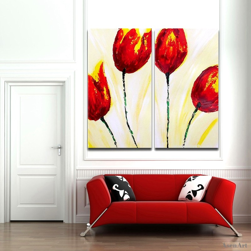 Frameless Canvas Art Oil Painting Flower Painting Design: Aliexpress.com : Buy 2pcs Hand Painted Tulips Oil Painting