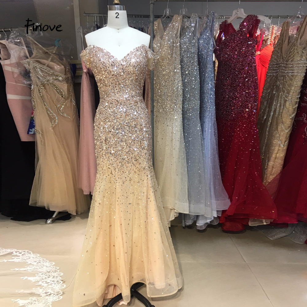 Finove Champagne Mermaid Evening Dresses 2019 Sexy Sweetheart Off Shoulder Illusion with beaded Floor Length Party Dress Gwons
