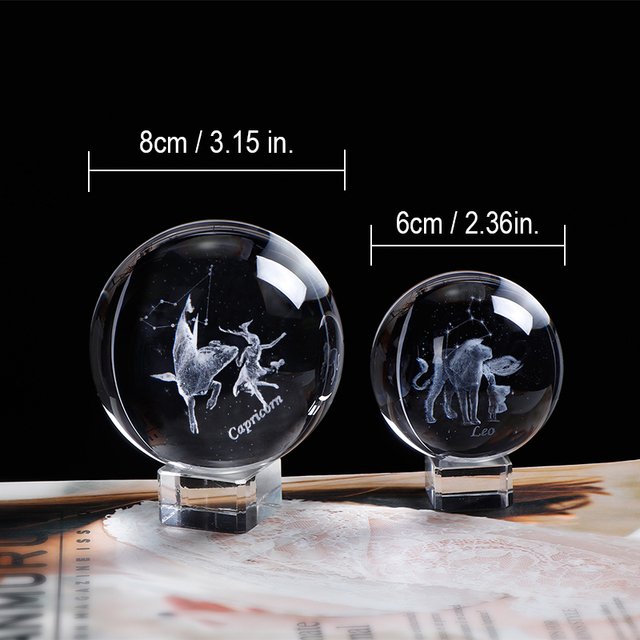 80 MM Laser Engraved Zodiac Sign Crystal Ball Miniature 3D Crystal Craft  Glass Ornament Sphere Home Decoration Accessories Gift 4