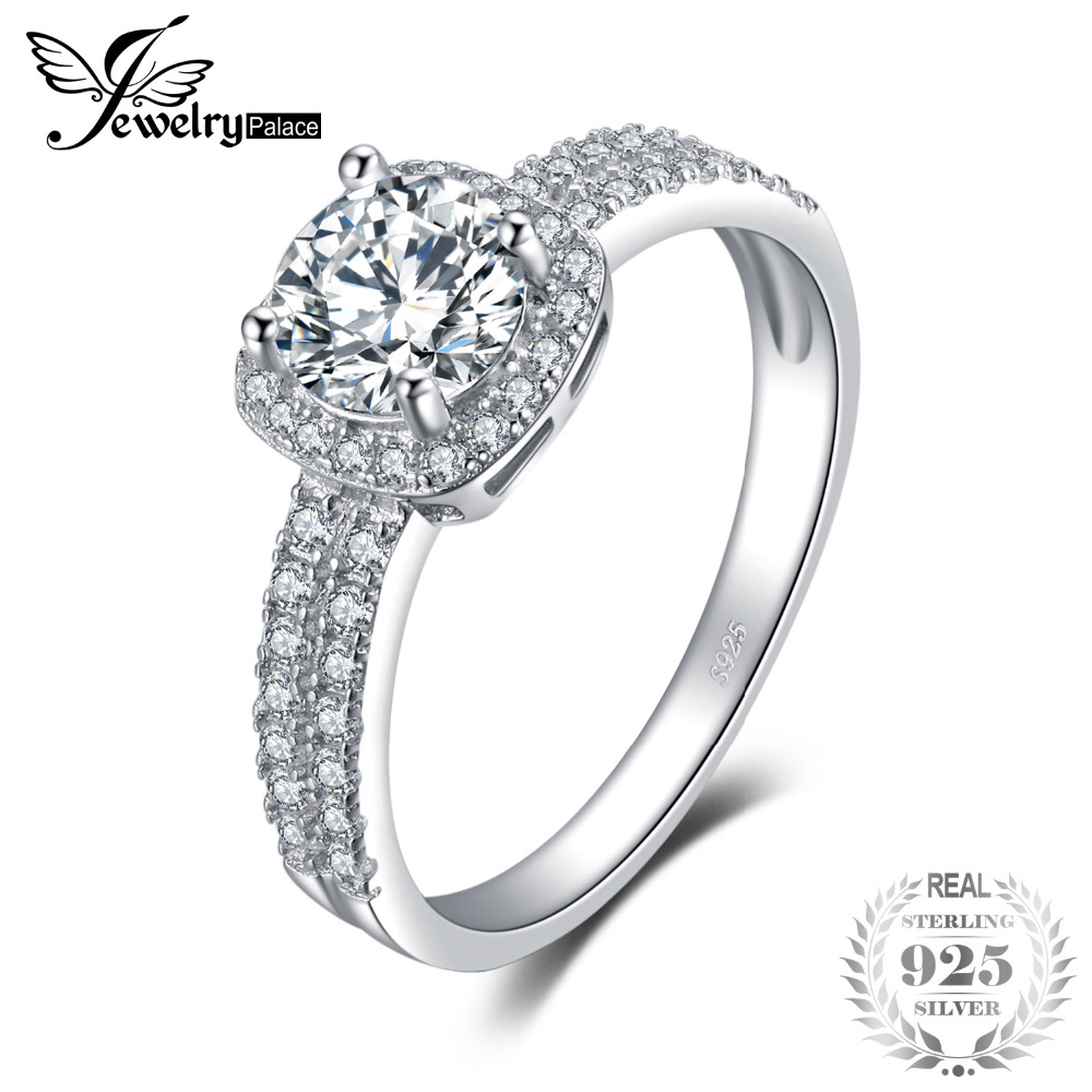 1f3aeb8a51cca4 Detail Feedback Questions about JewelryPalace Halo 1.1ct Round Cubic  Zirconia Engagement Promise Ring Genuine 925 Sterling Silver Ring For Women  Fashion ...