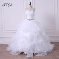 ADLN 2017 Sweetheart Plus Size Puffy Wedding Dress With Ruffles Princess A Line Bridal Gown Customized