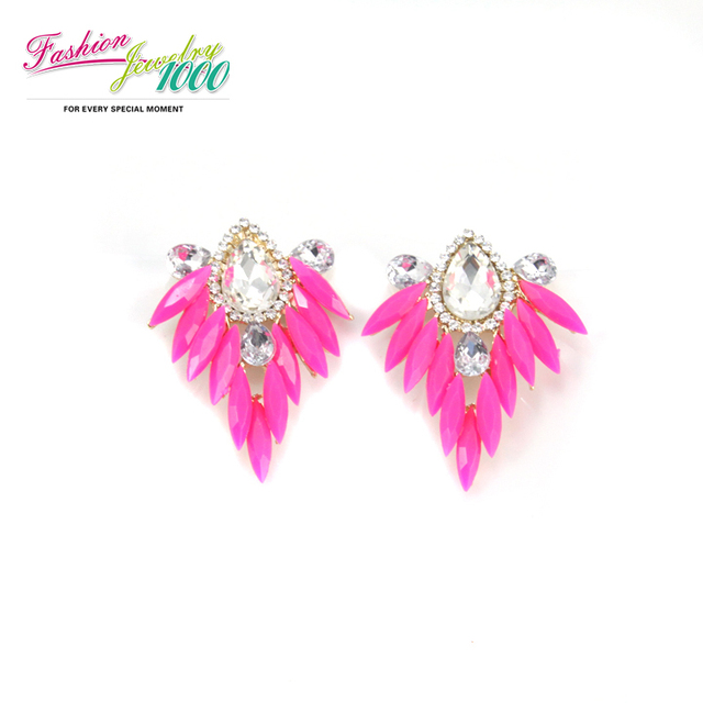 New Fashion Neon Rose Red  And Green Crystal Drop Earrings Vintage Jewelry For Women Free Shipping