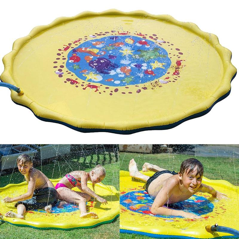 170cm Summer Inflatable Water Mat Children's Outdoor Play Water Games Beach Mat Lawn Inflatable Sprinkler Cushion Toys For Kids