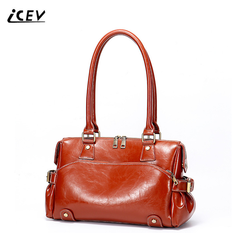 ICEV New European Fashion Oil Genuine Leather Handbags Vintage Rivet Women Leather Handbags Bags Handbags Women Famous Brand Sac paste real leather handbags vintage women genuine leather handbags tassel famous designer brand bags women leather new t301