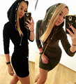 New arrival women dress hooded long sleeve 2016 metal chain design party dresses over size Mini Dresses sexy tight dress