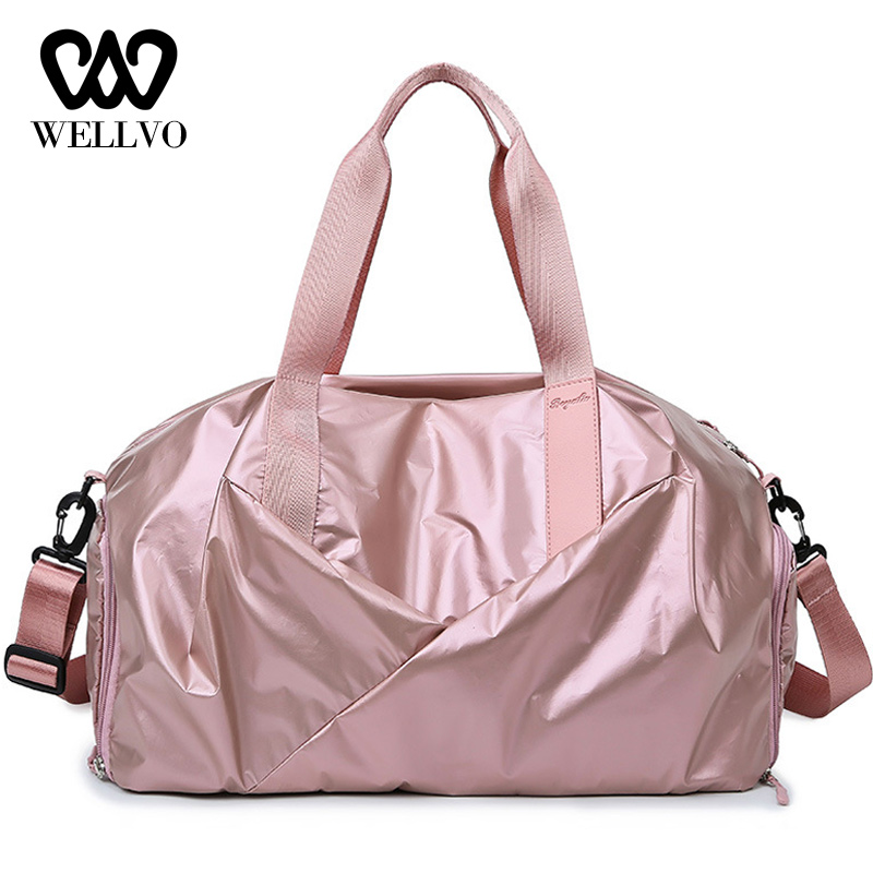 Bags Travel Bag Women Waterproof Hand Luggage Large Glitter Nylon Traveling Bags For Ladies Crossbody Shoes Duffle Bag XA736WB