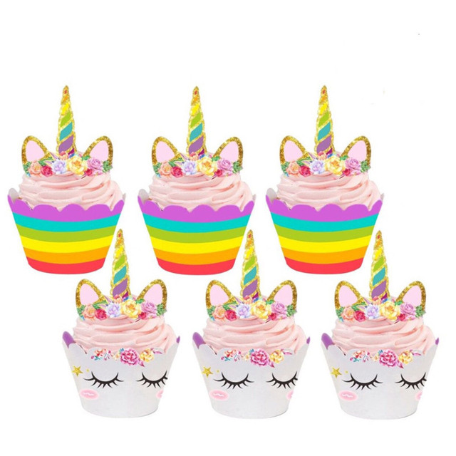 24Pc Unicorn Rainbow Cake Toppers Cupcake Wrappers Birthday Party Decoration Baby Shower Christmas SuppliesQ