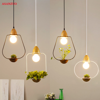 Modern Green Plant Pendant Light Wrought Iron Circle Decor Restaurant Bar Cafe Living Room Study Lighting LED Pendant Hang Lamp