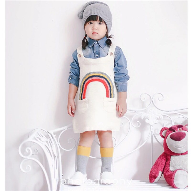 MILAN KIDS Baby Girl Vestido Del Patrón Del Arco Iris de Punto de ...
