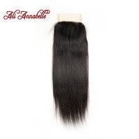Ali Annabelle Hair Brazilian Lace Closure 4 4 Brazilian Straight Hair Closure Middle Free Part 2