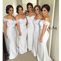 Frete Grátis 2016 Sexy Longo Vestidos Das Damas De Honra Do Laço Da Sereia Vestidos Formais Vestidos de Festa de Casamento para Dama De Honra Fora do Ombro