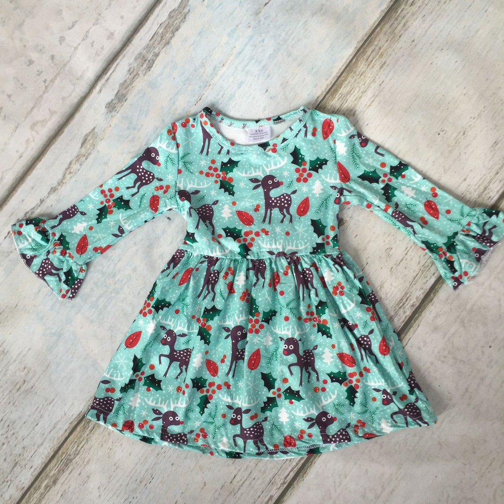Spezielle bieten Herbst/winter Weihnachten kleid baby mädchen lange ärmel grün reindeer print milch seide kleidung boutique kinder tragen