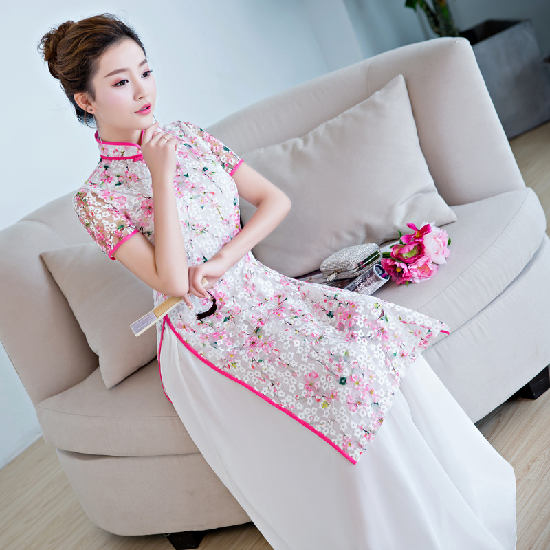 Partie Qipao Style Robe Femmes Cheongsam 2018 Mesh Printemps Blanc Ao Mince Lady Bouton Dai xxl Long Nouveauté À Chinois Robes S D2eH9WIEY