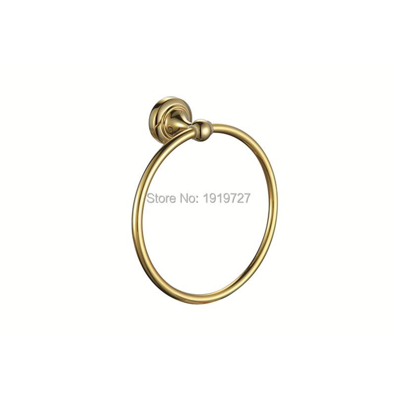 European Luxury Classical High-end Bathroom Accessories Bathroom Towel Hanging Hardware Full Copper And Gold Towel Ring european luxury all copper and bronze towel ring towel hanging antique blue and white towel ring towel rack hanging round
